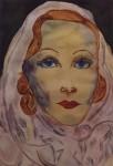 Obras de arte: Europa : España : Andalucía_Sevilla : Sevilla-ciudad : Marlene Dietrich con velo violeta