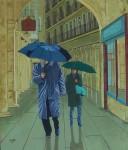 Obras de arte: Europa : España : Castilla_y_León_Burgos : burgos : Paseando bajo la lluvia