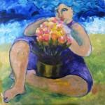 Obras de arte: America : Brasil : Parana : Curitiba : Na praia, com flores