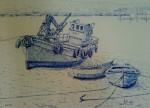 Obras de arte: Europa : España : Galicia_Pontevedra : Cambados : Barcos en Santo Tomé