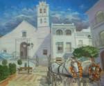 Obras de arte: Europa : España : Andalucía_Granada : almunecar : caballos delante la iglesia
