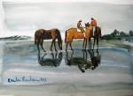 Obras de arte:  : Argentina : Santa_Fe : Rosario_ciudad : dos jinetes y tres caballos