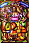 Obras de arte: America : Colombia : Santander_colombia : Bucaramanga : INTEGRACIONISMO PALENQUERO - TERTULIA DE PALENQUERAS