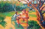 Obras de arte: America : Perú : Lima : la_molina : Comiendo en el jardin de o