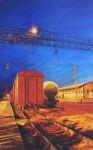 Obras de arte: Europa : Rusia : Moscow : Moscow_ciudad : La noche de la estación de tren.