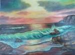Obras de arte: America : Brasil : Goias : brasilia : atardecer con el mar