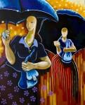 Obras de arte: America : Colombia : Antioquia : Medellin : Mujeres de falda larga con sombrilla