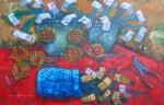 "Obras de arte:  : Venezuela : Miranda : Caracas_capital : ""Floreros sobre mesa roja"""