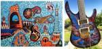 Obras de arte: Europa : España : Catalunya_Barcelona : Castelldefels : Guitarra GASTAÑADUY - Gaudí