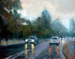 """Obras de arte:  : Argentina : Buenos_Aires :  : """"LLOVIZNA EN LA AVENIDA BUSTILLO"""""""