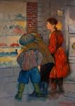 Obras de arte:  : España : Catalunya_Barcelona : Martorell : sisters, oil on canvas 100x81 cms