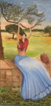 Obras de arte:  : España : Catalunya_Girona : Fontcoberta : Mujer sentada bajo los olivos,