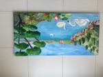 Obras de arte:  : España : Catalunya_Girona : Fontcoberta : Cisnes en el lago