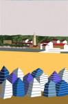 Obras de arte: Europa : España : Principado_de_Asturias : Gijón : gijon casetas en la playa