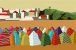 Obras de arte: Europa : España : Principado_de_Asturias : Gijón : casetas en la playa de gijon 2