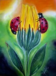Obras de arte:  : Panamá : Panama-region : albrook : Dos mariquitas en flor amarilla