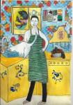 Obras de arte: Europa : España : Madrid : Madrid_ciudad : Hombre con gato en la cocina