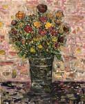 Obras de arte: Europa : España : Extrmadura_Cáceres : Logrosan : Flores inventadas sobre fondo rosa
