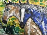 Obras de arte: Europa : España : Extrmadura_Cáceres : Logrosan : Caballos azul y rosa