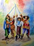 Obras de arte: America : Honduras : Francisco Morazan : Tegucigalpa : los tres mosqueteros y Dartañan, acuarela