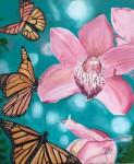 Obras de arte:  : Panamá : Panama-region : albrook : Orquídeas rosadas y mariposas.
