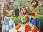 Obras de arte: America : Panamá : Colon-Panama : Barrio_Sur : Las Mojongos(mujeres)con flores y collares.