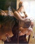 Obras de arte: Europa : España : Valencia : valencia_ciudad : Autorretrato con Caballo -  Chelin Sanjuan