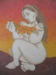 Obras de arte: Europa : España : Aragón_Zaragoza : zaragoza_ciudad : Mujer con gladiolos al atardecer