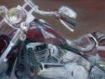 Obras de arte: America : México : Mexico_Distrito-Federal : Benito_Juarez : motocileta harley