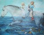 Obras de arte: Europa : España : Valencia : valencia_ciudad : Niñas a caballo - Chelin Sanjuan