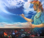 Obras de arte: America : Argentina : Buenos_Aires : Villa_Elisa : Autorretrato con camaleón y medusas luminiscentes