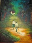 Obras de arte: America : Colombia : Distrito_Capital_de-Bogota : Bogota_ciudad : Esposos caminando por el bosque