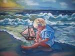 Obras de arte: Europa : España : Galicia_La_Coruña : FERROL : Niño en la playa