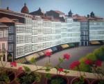 Obras de arte: Europa : España : Galicia_La_Coruña : Coruna : Terraza imaginaria con flores5(Galerias de la Marina en A Coruña)