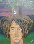 Obras de arte: America : Ecuador : Imbabura : Cotacachi : Christianstephen - Autorretrato con árbol