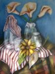 Obras de arte: America : México : Mexico_Distrito-Federal : Coyoacan : BODEGON CON FLORES Y BOTELLAS