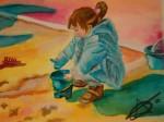 Obras de arte: Europa : España : Catalunya_Barcelona : Barcelona_ciudad : Nena a la sorra