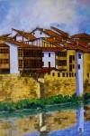 Obras de arte: Europa : España : Castilla_y_León_Burgos : Miranda_de_Ebro : casas sobre el rio