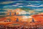 Obras de arte: Europa : España : Catalunya_Barcelona : BCN : Sueño en azul y naranja