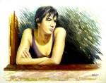 Obras de arte: Europa : España : Catalunya_Girona : olot : Dona a la finestra
