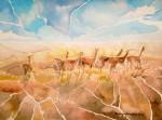 Obras de arte: America : Chile : Tarapaca : Arica : Llamas Pastando