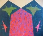 Obras de arte: America : Colombia : Antioquia : Medellín : De la serie Quimeras, Encrucijada con aves verdes y rojas.