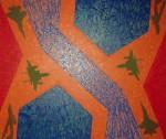 Obras de arte: America : Colombia : Antioquia : Medellín : De la serie Quimeras, Encrucijada con aves verdes.