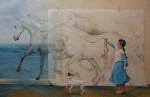 Obras de arte: Europa : España : Valencia : valencia_ciudad : Mutis por la izquierda con perro fastidioso y ladrador / Chelin Sanjuan