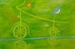 Obras de arte: Europa : España : Catalunya_Barcelona : Barcelona : bicicleta verde con sol y luna  nº 26