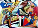 Obras de arte: Europa : España : Cantabria : Santander : mujer maltratada por hombre monstruo