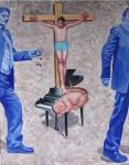 Obras de arte: Europa : Albania : Qarku_i_Fierit : Fier : La crucifixion sobre el piano con forma de niño