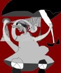 Obras de arte: Europa : España : Cantabria : Santander : mujer con 3 brazos y paraguas jugando a los bolos(boceto)