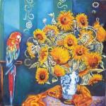 Obras de arte: America : Colombia : Distrito_Capital_de-Bogota : Bogota : flores y Papagayo