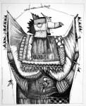 Obras de arte: America : Uruguay : Maldonado : mascaras : Gran bicho de trapo con pajarito chiquito